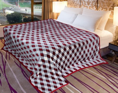 Coverlet Checkered Double Blanket Maroon and Grey