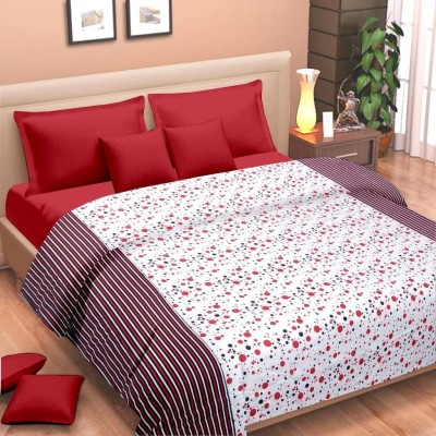 Cortina Floral Single Dohar Red, White