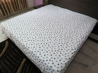 Deluxe Floral Double Dohar White, Blue