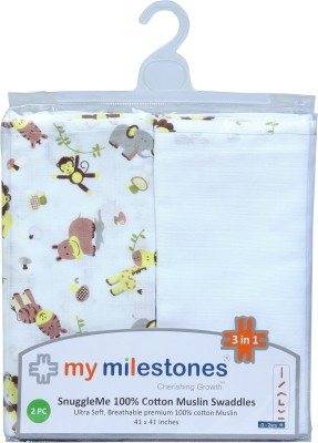 My Milestones Animal Single Swadding Baby Blanket Lemon Yellow