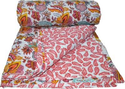 Rajcrafts Floral Double Blanket Multicolor