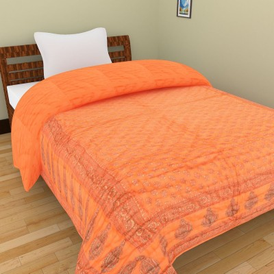 Shra Embroidered Single Quilts & Comforters Orange, Gold