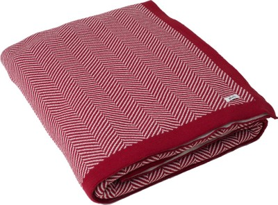 Pluchi Geometric Queen Throw Red & Ivory