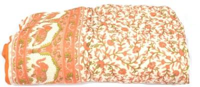 The Ethnic Story Animal Double Quilts & Comforters Orange