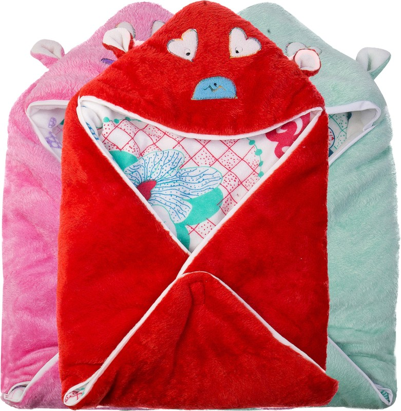 Utc Garments Cartoon Single Blanket Red, Pink, Green, White(3 blankets)