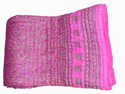 Vivid Rajasthan Floral Double Quilts & Comforters Pink