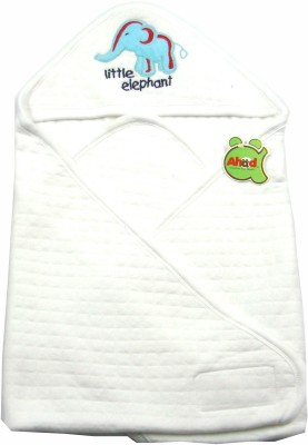 Ahad Plain Single Hooded Baby Blanket White