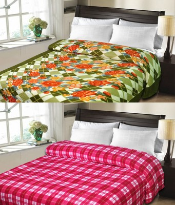 Sanvi Traders Checkered Double Blanket Pink