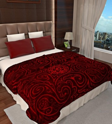Home Candy Floral Double Blanket Maroon