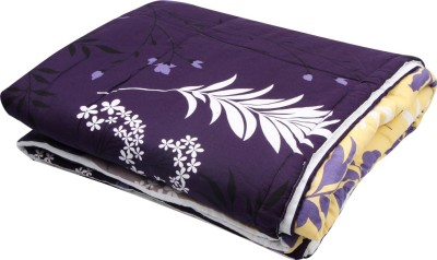 Coco Bee Floral Double Quilts & Comforters Purple, White