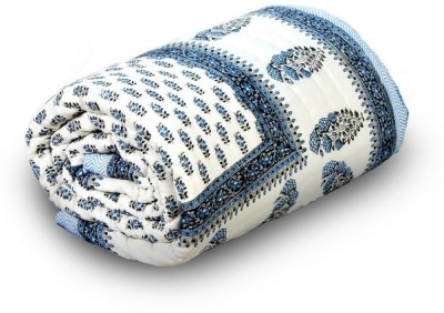 Me Home Damask Single Quilts & Comforters White and Blue