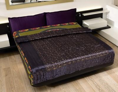 Rajasthan Craft Plaza Floral Double Dohar Purple, Golden, Black