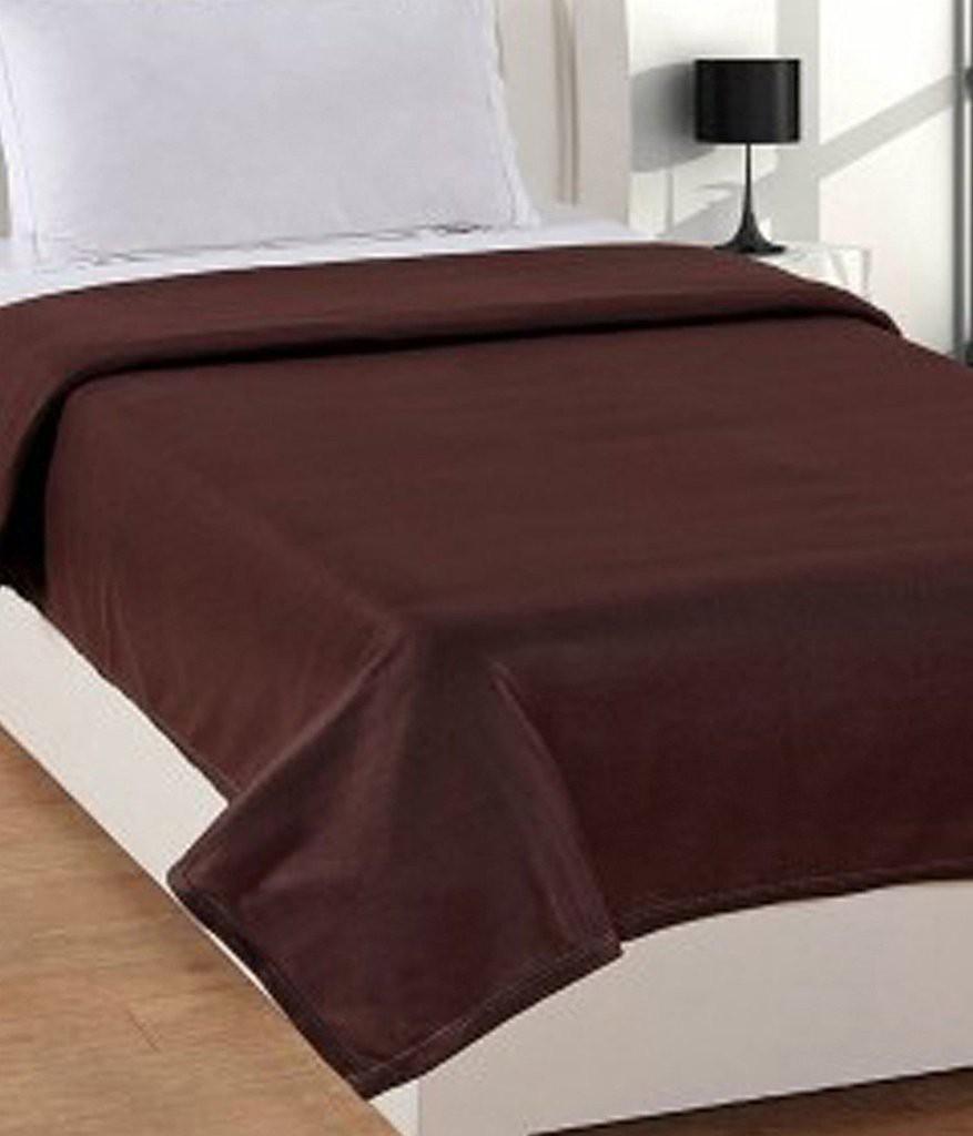 Super India Plain Single Blanket Brown(Fleece Blanket, Blanket)