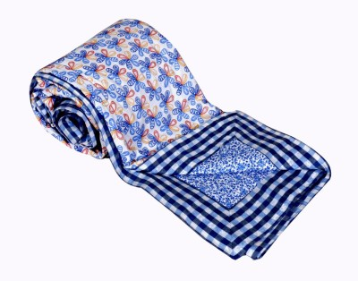 IndiWeaves Printed Double Dohar White, Blue