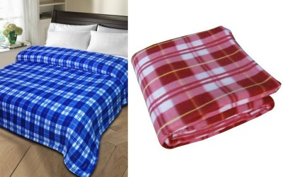 Shopgalore Checkered Single Blanket Multicolor