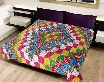 Krishnam Geometric Double Blanket White, Multicolor