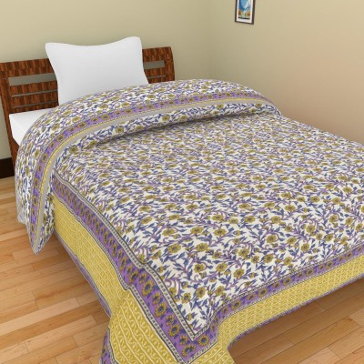 Shra Floral Single Quilts & Comforters Purple, Gold