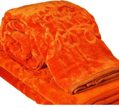 Kalash Floral Double Blanket Orange