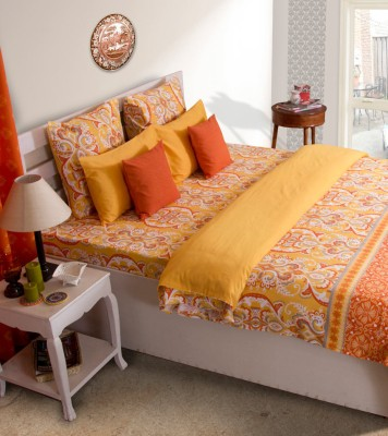 House This Floral Single Quilts & Comforters Orange