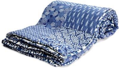 Jodhaa Printed Double Blanket Blue, White