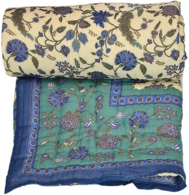 Stole & Yarn Floral Single Quilts & Comforters Blue