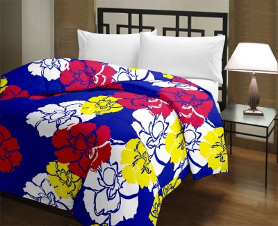 H,Decor Floral Queen Blanket Blue, Yellow, White