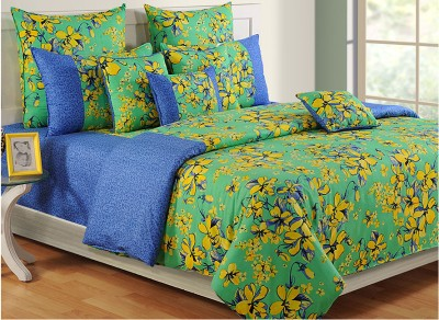 Swayam Floral Double Quilts & Comforters Blue, Green