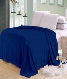 komfey Plain Single Blanket Blue(Fleece Blanket)