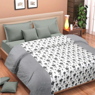 Cortina Floral Single Dohar Grey, White