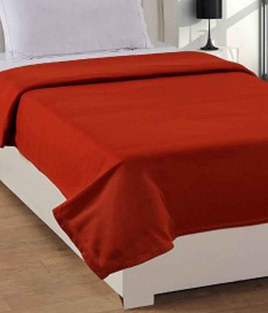 Super India Plain Single Blanket Orange(Fleece Blanket, Blanket)