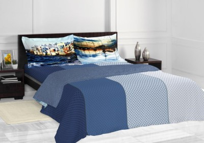Spaces by Welspun Striped, Checkered Double Quilts & Comforters Blue