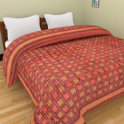 Rajkruti Checkered Double Quilts & Comforters Maroon