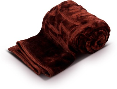 Fab Ferns Plain Double Blanket Brown