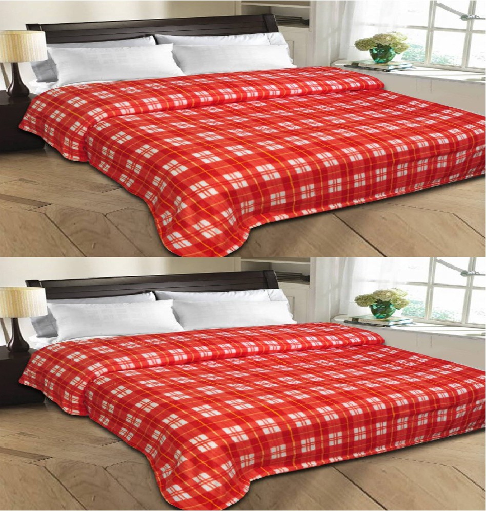 Styletex Checkered Single Blanket Red(Fleece Blanket, 2 Red Blankets)