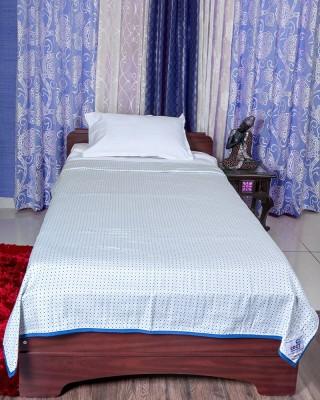 COZY SLEEEEEEP Printed Single Dohar WHITE & BLUE
