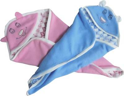 Silver Stone Text Print Single Hooded Baby Blanket Blue, Pink