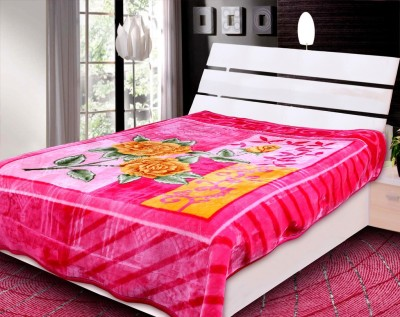 Rangoli Floral Double Blanket Pink