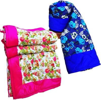 Artisan Creation Floral Single Quilts & Comforters Blue, Pink