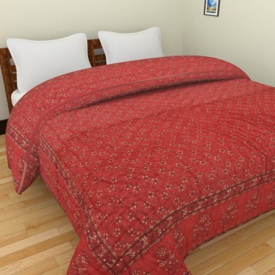 Rajkruti Floral Double Quilts & Comforters Red