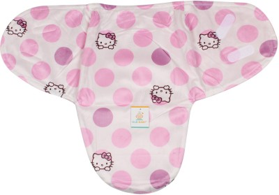 Ole Baby Hello Kitty print Comfortable Swaddle Blanket, Adjustable Infant Wrap With Velcro Closure , Soft Furry in Pink and White 0-9 months Sleeping Bag