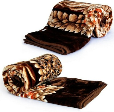 Ndecor Floral Double Blanket Brown