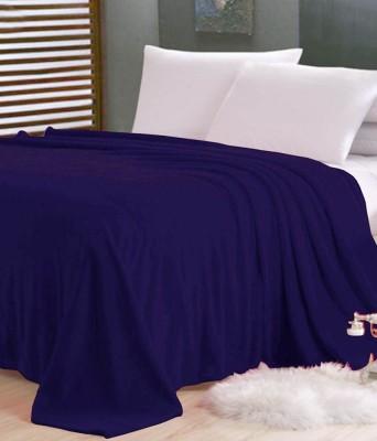 Sleepinns Plain Single Blanket Blue(1 Polar fleece Single Bed Blanket)