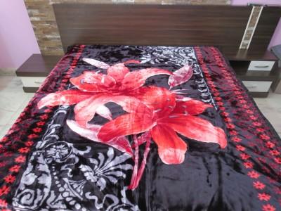 Florida Floral Double Blanket Black