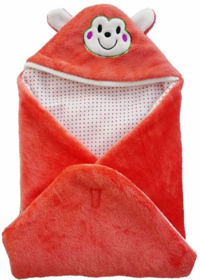 Brandonn Abstract Single Hooded Baby Blanket Orange