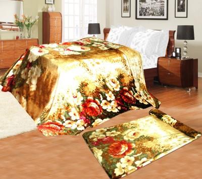 Aapno Rajasthan Floral Single Blanket Gold