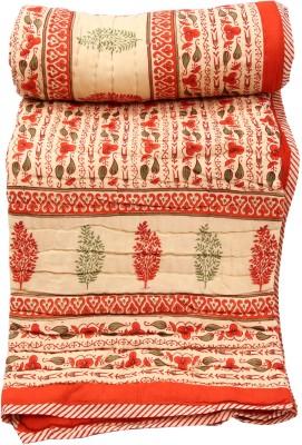 Chhipa Prints Floral Single Quilts & Comforters Orange