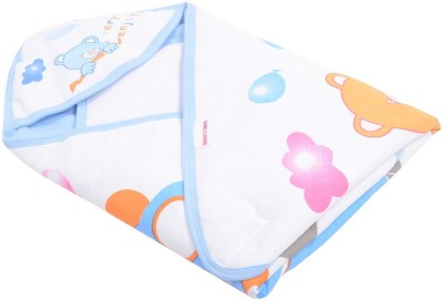 Kinder And Tender Printed Single Hooded Baby Blanket Blue, White