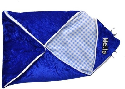 Silver Stone Checkered Single Hooded Baby Blanket Blue