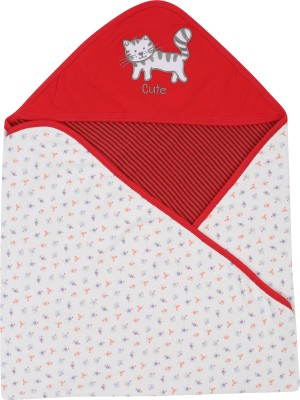 Lula Embroidered Crib Hooded Baby Blanket Red Stripes