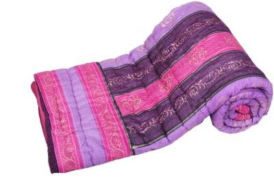 Jaipurtextilehub Striped Double Quilts & Comforters Purple